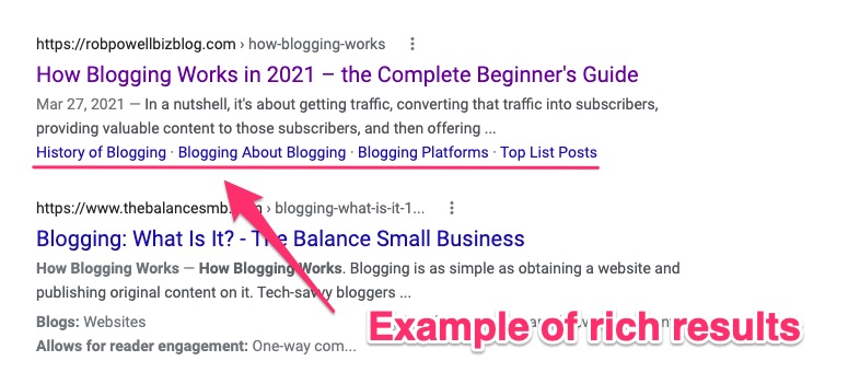 rich results in SERP snippet
