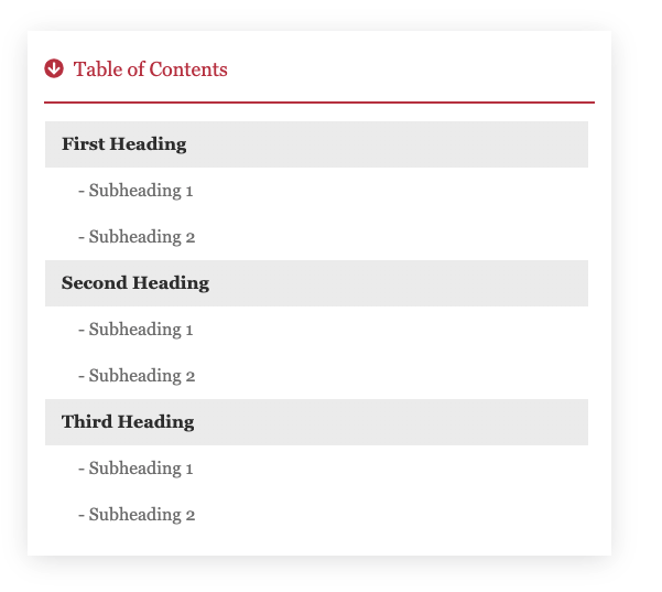 example of a Table of Contents in WordPress