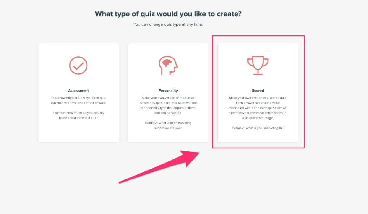 choose the scored quiz option