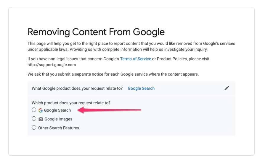 Google DMCA form - 02