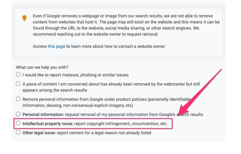 Google DMCA form - 03