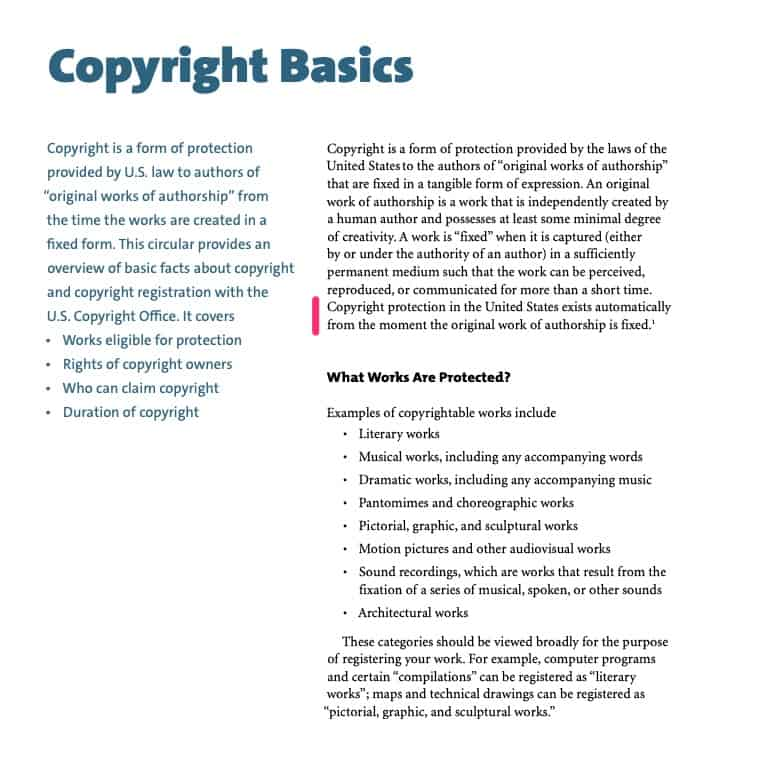 copyright is created as soon as the work is fixed