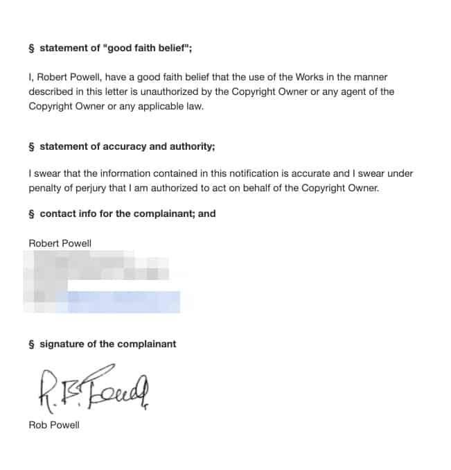 DMCA - statement of good faith etc