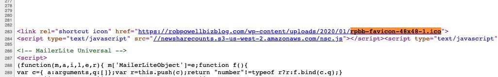 favicon declared in source code