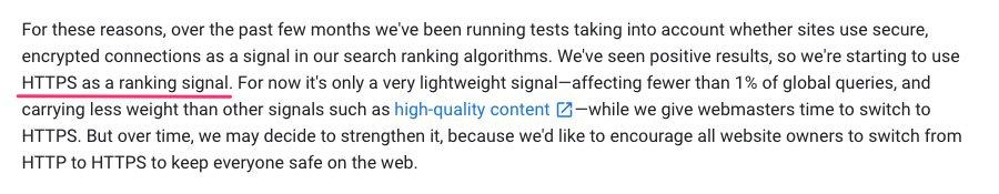 SSL as a ranking factor